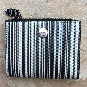 Handbags - Lodis Black, White & Gray Stripe Leather Wallet